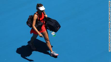 Maria Sharapova leaves the pitch following her defeat in the Australian Open first round.
