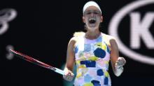 Donna Vekic celebrates the victory over Maria Sharapova at the Australian Open.