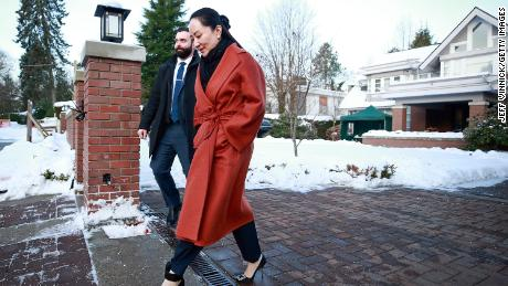 Meng Wanzhou leaves her house on her way to a court appearance on January 17, 2020 in Vancouver, Canada.