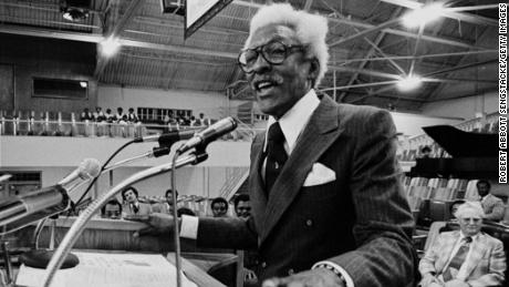 Rustin speaks at Mason Temple, Church of God, 9 years after Dr. King's murder in 1977. Rustin was there with Coretta Scott King in support of striking workers during the bitter Memphis furniture strike.