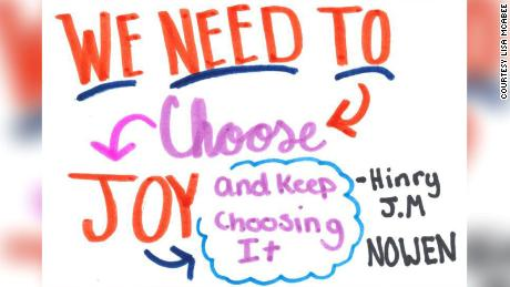 A sample of an illustrated quote created by the Girl Scouts in Troop 1980.