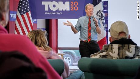 Democratic presidential candidate businessman Tom Steyer speaks during a meet and greet campaign stop in Council Bluffs, Iowa, Tuesday, Jan. 21, 2020. (AP Photo/Nati Harnik)