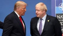 Donald Trump and Boris Johnson onstage during the annual NATO heads of government summit on December 4, 2019 in Watford, England.