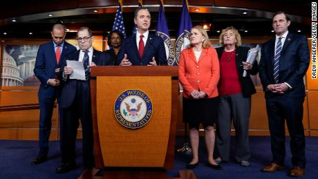 Rep. Jason Crow is pictured on the far right side accompanied by his fellow impeachment managers in January 2020.