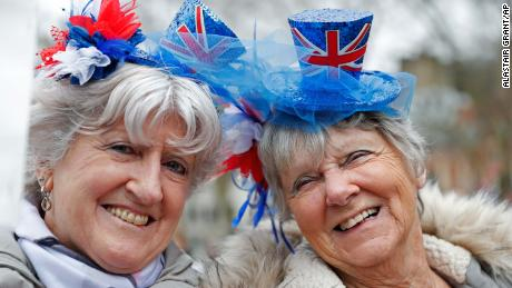 Brexiteers celebrate after the UK finally leaves the EU.