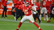 Mahomes was crowned Super Bowl MVP after leading his team to victory, throwing two touchdowns and rushing for a touchdown too.