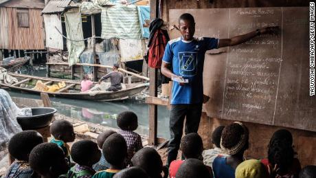 A classroom session at a private school  in the Makoko on March 1, 2019.