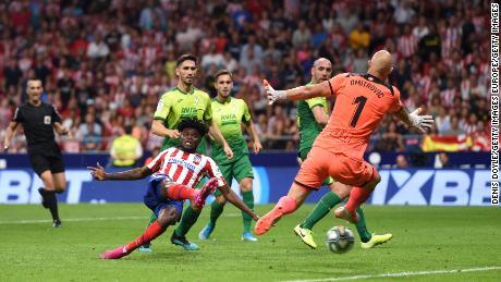 Partey scores against SD Eibar in La Liga at Wanda Metropolitano on September 01, 2019.