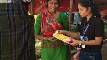 Nisha with a My Padbank team member, Delapeer Slum, Bareilly, India on December 3, 2019.