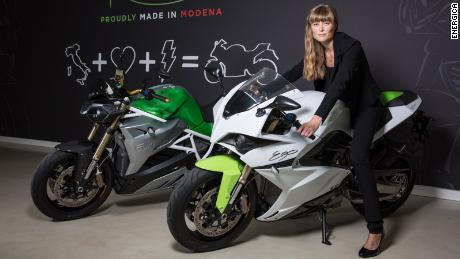 Cevolini sits on one of her company's Energica motorcycles.