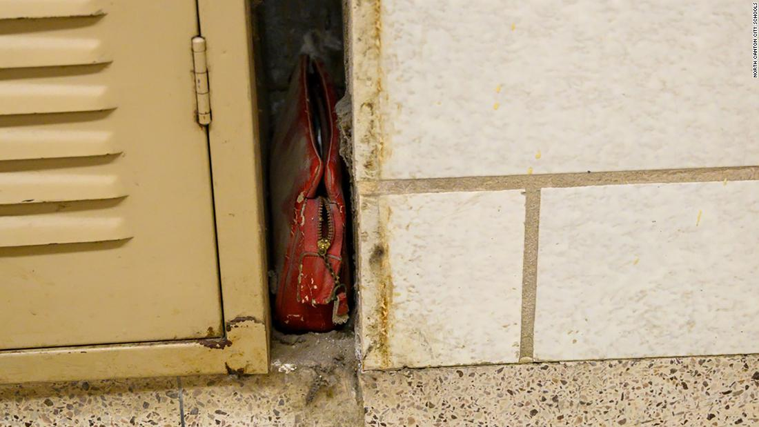 Photo of A lost bag from 1957 was discovered inside a wall of an Ohio school