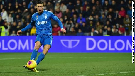 Cristiano Ronaldo takes home Juventus' initial goal in a 2-1 win at SPAL, the eleventh consecutive Serie A game in which the Portuguese star has scored.