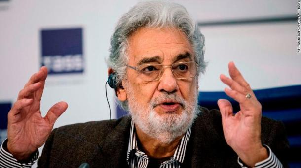 Spanish tenor Placido Domingo gives a press conference ahead of his concert in Moscow on October 15, 2019.