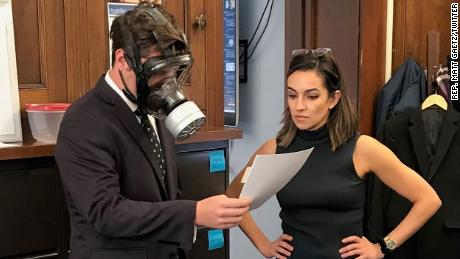 Gaetz seen with a gas mask in early 2020.