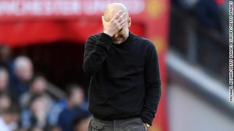 City manager Pep Guardiola displays his frustration during the Manchester derby on Sunday.