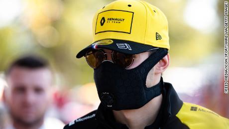 Renault F1 Team driver Esteban Ocon wearing a mask for protection against Coronavirus disease.