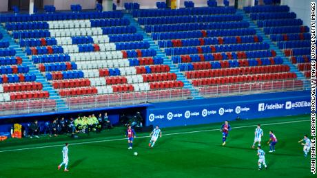 A general view inside the empty stadium as fans cannot attend the match between Eibar and Real Sociedad in La Liga.