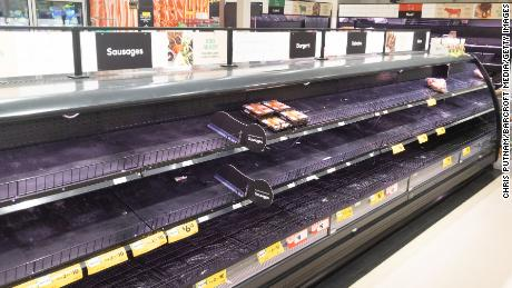 Empty meat product shelves in an Australian supermarket after panic buying due to the COVID-19 Coronavirus.
