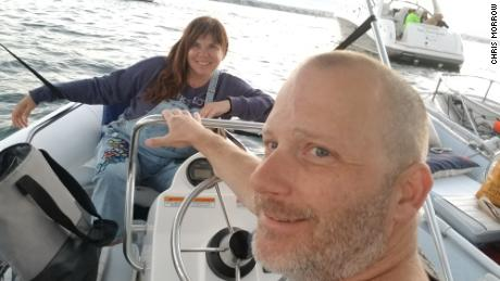 Airbnb greets Chris (left) and Marty Morrow on their boat in San Diego County in August 2019. They are temporarily living on their boat to make their homes available for longer stays on Airbnb.