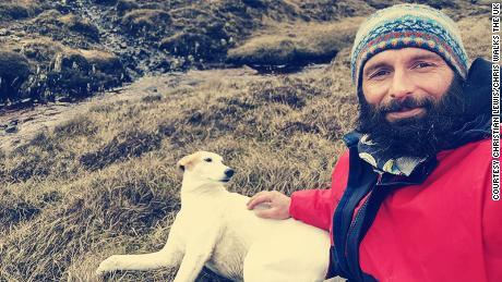 Christian Lewis and his dog Jet, washed up on Hildasay Island, off the Shetlands.
