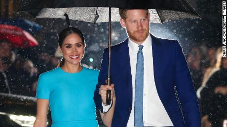 Prince Harry and Meghan, the Duke and Duchess of Sussex, attend an awards show on March 5 in London.