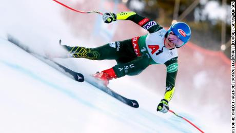 Shiffrin in action during the Audi FIS Alpine Ski World Cup Women's Super G on January 26, 2020 in Bansko Bulgaria.