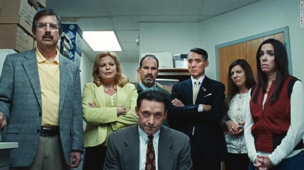 Hugh Jackman (front) in 'Bad Education.'