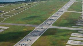 """US military aircraft stationed at Andersen Air Force Base, Guam, perform an """"Elephant Walk"""" to showcase combat readiness on April 13, 2020."""