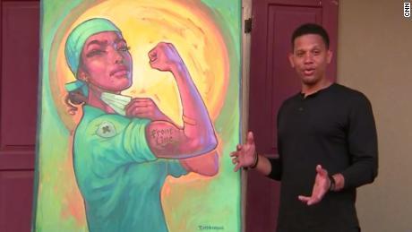 Terrance Osborne, who painted emblematic scenes of Hurricane Katrina, talks beside his latest work, inspired by the coronavirus battle.