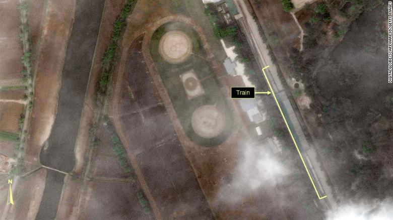 Satellite images show what may be the train belonging to the leader of North Korea, Kim Jong Un.