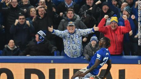 Kean festeggia dopo il gol contro il Newcastle.