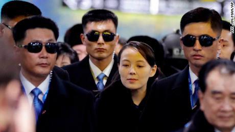 Kim Yo Jong, center, arrives at the Jinbu train station in Pyeongchang, South Korea on February 9, 2018.