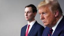 President Donald Trump, flanked by senior advisor Jared Kushner, speaks during the coronavirus task force briefing at the White House on April 2, 2020.