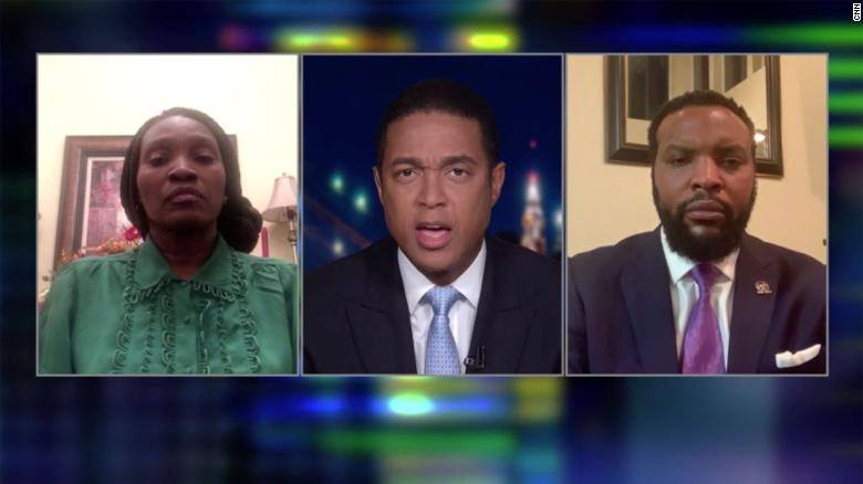 Wanda Cooper, left, and attorney Lee Merritt speak with CNN's Don Lemon on Sunday, May 3, 2020. Cooper says her son, Ahmaud Arbery, was shot and killed while jogging in Brunswick, Georgia, on February 23, 2020.
