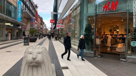 The main shopping street in Stockholm was full of people.