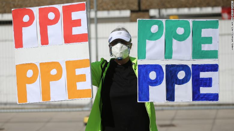 A protester demands more PPE in London last month.
