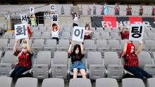 The dolls were in the stands for Sunday's game against Gwangju.
