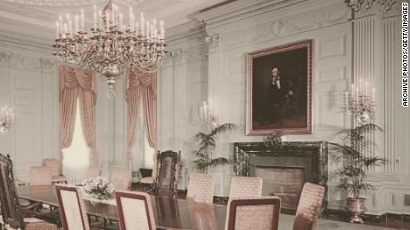 A portrait of former President Abraham Lincoln by George Peter Alexander Healy hangs above the fireplace in the State Dining Room in the White House in 1962.