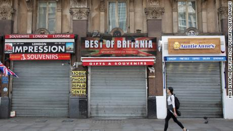 Shutters are down at closed tourist shops in London on May 12.
