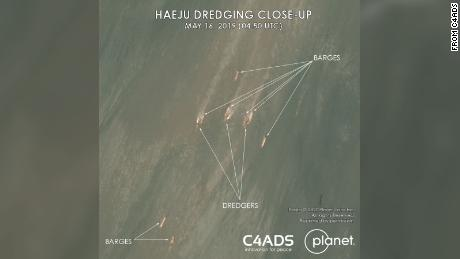 """This handout image courtesy of C4ADS shows ships in the waters off the coast of the North Korean city of Haeju."""""""