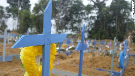 Workers have made hundreds of crosses to mark new graves at the Parque Taruma Cemetery.