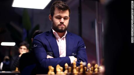 Carlsen competes against Daniil Dubov during the Tata Steel Chess Tournament in January, 2020.