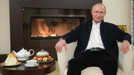 Russian President Vladimir Putin giving an Easter address from his residence outside Moscow on April 19, 2020, during the pandemic.