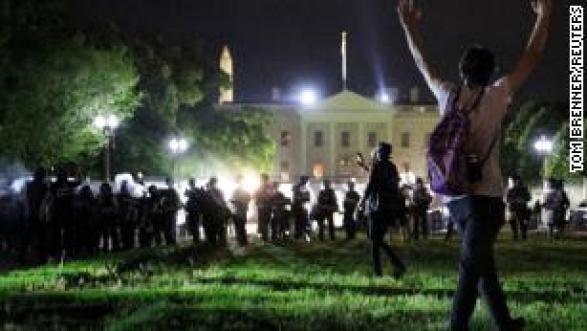 Trump slams White House protesters as 'just there to cause trouble' as DC mayor defends city