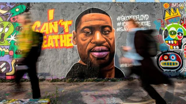 A mural of George Floyd painted by the artist Eme Freethinker on a wall at Mauerpark in Berlin on May 30.