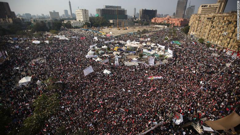 Protestors gather in Tahrir Square for a mass rally on November 25, 2011 in Cairo, Egypt.