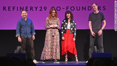 Refinery29 founders Justin Stefano, Christene Barberich, Piera Gelardi, and Philippe von Borries speak onstage during a 2018 event in New York City.