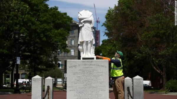 The beheaded statue of of Christopher Columbus in Boston.