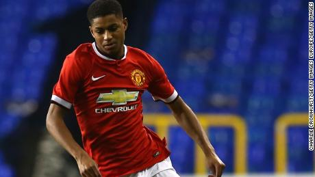 Rashford playing for United in the FA Youth Cup in 2015.