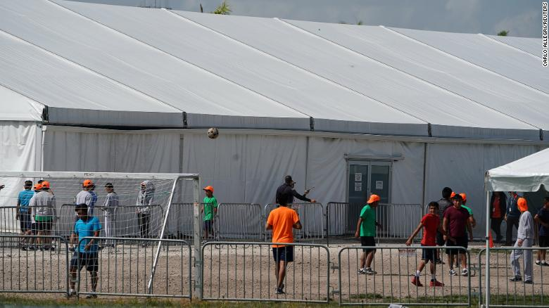 Children who have been incarcerated by Homeland Security are housed in tents in Homestead, Florida, U.S., June 26, 2019.  REUTERS/Carlo Allegri